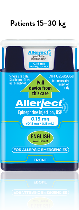 A 0.15 mg ALLERJECT device next to a 0.3 mg ALLERJECT device.
